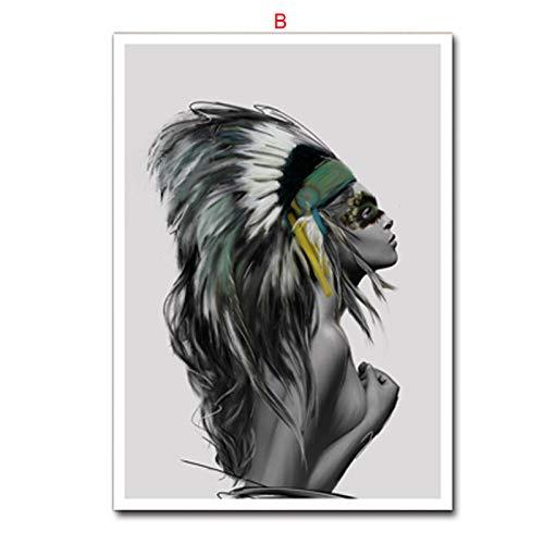 adgkitb canvas Habitación Infantil Pintura Decorativa Animal Indios Plumas abstractas Sala de Estar...