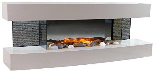 Elektro Wandkamin CheminArte Lounge mit Fernbedienung Dekokamin mit weissem MDF Rahmen Glasabdeckung und zwei seitlichen Schieferplatten Heizleistung 1000-2000W