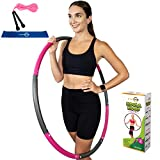 Better Sense Hoola Hoop for Adults - 8 Section Detachable Hoola Hoops, 2lb Weighted Hoola Hoop for Exercise - Portable Smooth & Soft Padding Weighted Hula Hoop (Pink, 2 LB)