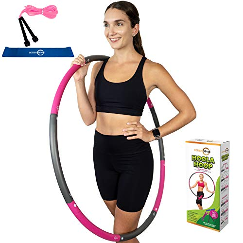 Better Sense Hoola Hoop for Adults - 8 Section Detachable Hoola Hoops, 2lb Weighted Hoola Hoop for Exercise - Portable Smooth & Soft Padding Weighted Hula Hoop with Jump Rope & Resistance Band