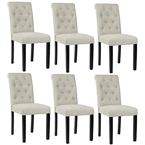 Homy Grigio Aristocratic Style Dining Chair Noble and Elegant Solid Wood Tufted Dining Chair Dining Room Chair (Set of 6 Beige)