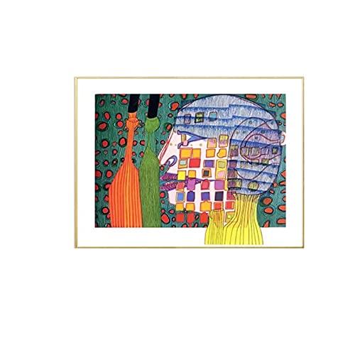 Caracteres de color Lienzo Pintura Friedensreich Hunder twasser Obra de arte Pintura Arte de la pared Cartel Imagen Decoración para el hogar -50x70cm Sin marco