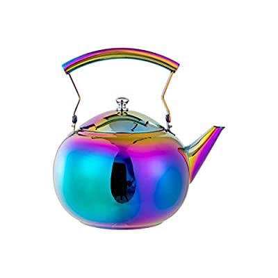 Rainbow Tea Pot with Removable Infusers for loose Leaf Tea, Stainless Steel Teapot Induction StoveTop Gas, Modern Tea kettle Strainer Tea Maker Steeper, Colorful 2 Quart 68 Ounce