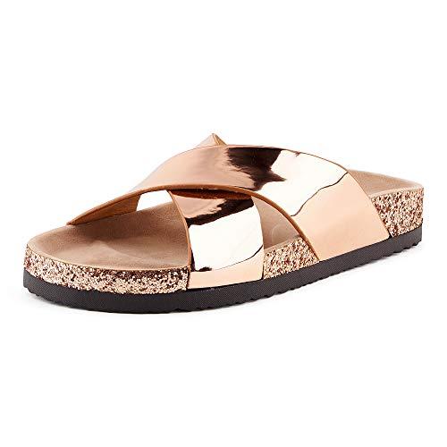 Fusskleidung Damen Pantoletten Metallic Schlappen Glitzer Komfort Sandaletten Sandalen Zehentrenner Rose Gold EU 38
