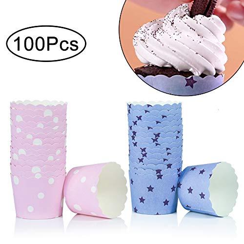 WENTS Mini Muffin Förmchen 100 Stück Backen Tassen Mini Papier Kuchen Cupcake Pudding Fällen Halter für Muffin Cups Liner für Halloween Hochzeit Geburtstag Party Dekoration(Blau/Pink)