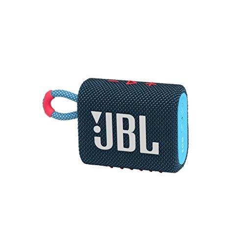 JBL GO 3 kleine Bluetooth Box in Blau und Pink – Wasserfester, tragbarer Lautsprecher für unterwegs – Bis zu 5h Wiedergabezeit mit nur einer Akkuladung