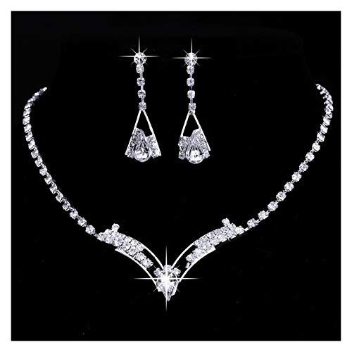 DSJTCH Moda Simple de Gota de Diamante Completo Collar de Orejas de Oreja Conjunto de Joyas de Novia clásica joyería de Novia de Dos Piezas (Color : Silver)