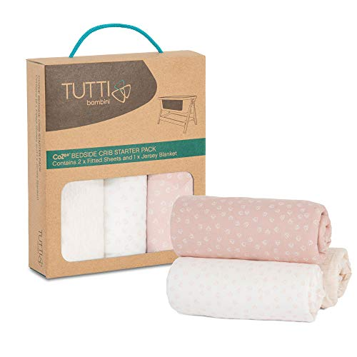 Tutti Bambini CoZee Starter Pack | 2 x Fitted Sheet 1 x Jersey Blanket | Pink/Rose 100% Cotton for CoZee Bedside Crib