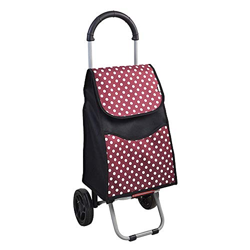 WPCBAA Fixed rod design shopping cart foldable wearable mute wheel trolley Oxford cloth high load shopping trolley (Color : Red)
