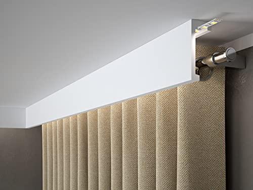 MARDOM DECOR Gardinenblende QL026 LightGuard® I Gardinen und Stoff Blende für die indirekte LED Beleuchtung I 2,40 m x 9,8 cm x 4,1 cm