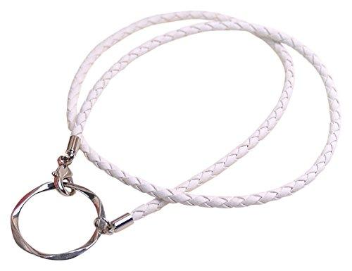 グラスホルダー 四つ編み紐 ペンタゴン メタルリング シルバーカラー 白色コード めがねホルダー