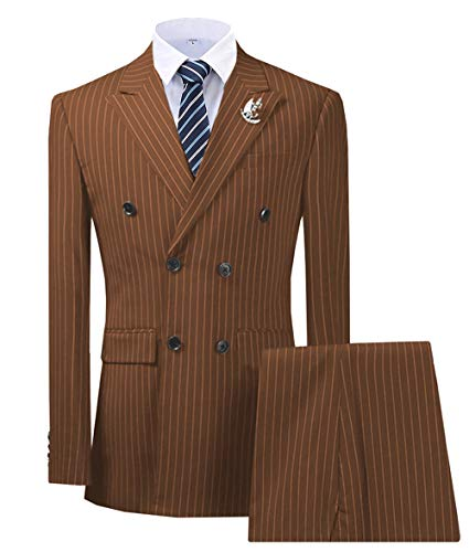 Mens Strip Suits 3 Piece Formal Peak Lapel Double-Breasted Jacket(Brown,M)