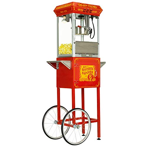 Funtime Sideshow Popper 8-Ounce Hot Oil Popcorn Machine with Cart, Red/Silver
