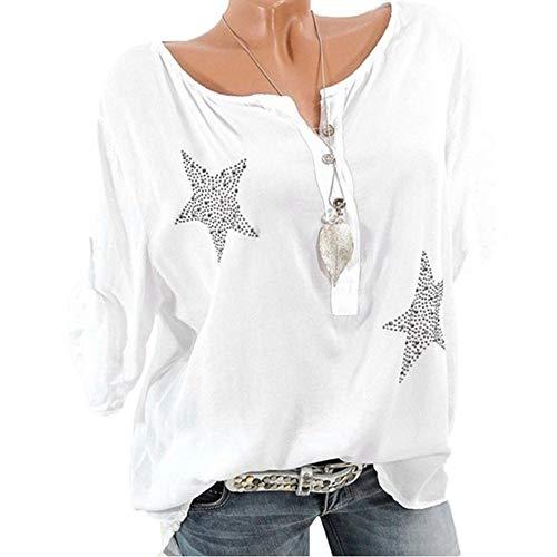 Donna Camicetta Blusa Elegante Collo a V Maniche Lunghe T-Shirt Camisetta Basic Estivo Causal Colore Solido Tops