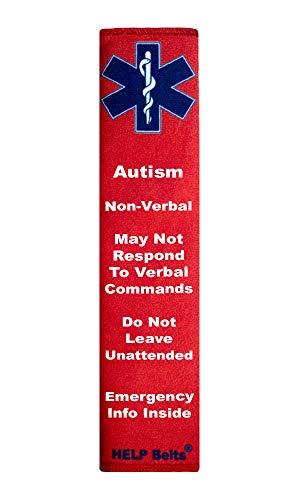 Autism, Non-Verbal, Help Belt® Medical Alert Seat Belt Cover with Inside Pocket (Red)