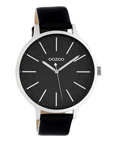 Oozoo dameshorloge met lederen band 45 MM zwart/glitter C10569
