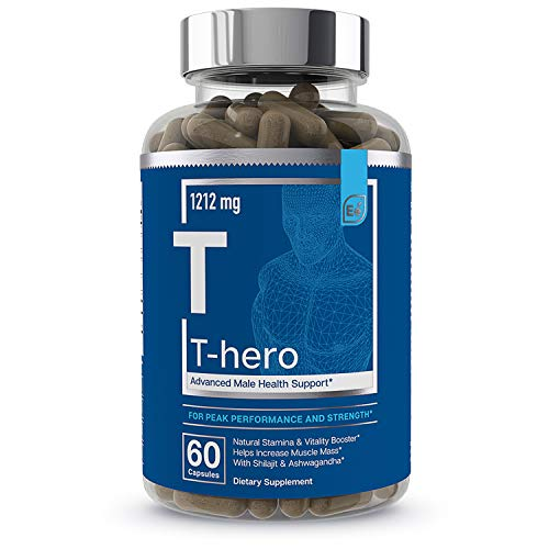 Male Health Supplement - Muscle Builder & T-Booster with DIM, Ashwagandha, Shilajit, More | T-Hero by Essential Elements - 60 Vegan Capsules
