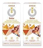 WUG SOLAR Chicle Ideal Bronceado, Vitaminas C, D y E, Sabor Menta, Pack 2 cajas (2 x 10 uds)