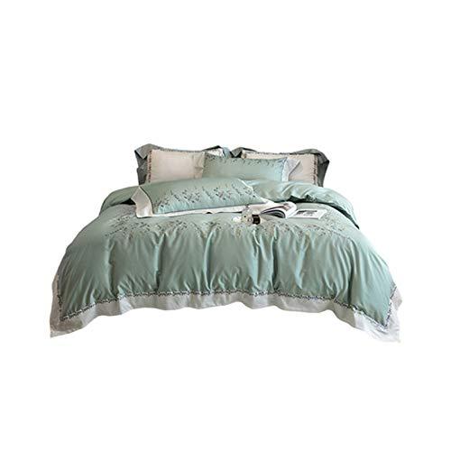 PHGo Bettwäsche Bettbezug Langstapel Baumwolle Reine Baumwolle Frühling Und Herbst Vierteilige Bestickte Bettbezug, Superweiche Gebürstete Mikrofaser-Bettdecke Mit Reißverschluss