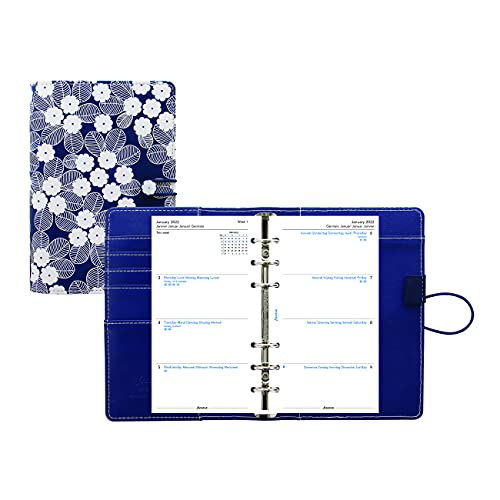 Filofax Impressions Organizer, Personal Size, Navy/White – Patterned, Tactile, Leather-Look Cover, Six Rings, Week-to-View Calendar Diary, Multilingual, 2022 (C028710-22)