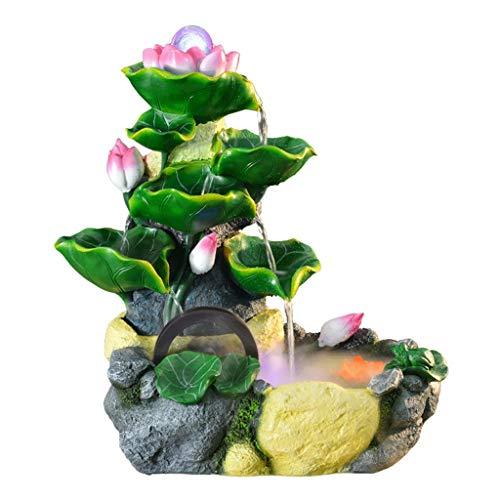 Indoor Tabletop Water Fountain Fuente de resina de escritorio de Lotus hoja de loto Capa Pila Cascada Fuente decorativa con regalos atomizador Feng Shui Fuente de agua del tanque de pescados de la sal