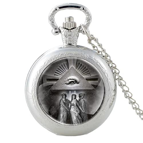Vintage Ojo de Providencia Diseño de Cristal Cabujón Cuarzo Reloj de Bolsillo Vintage Hombres Mujeres Colgante Collar Cadena Reloj