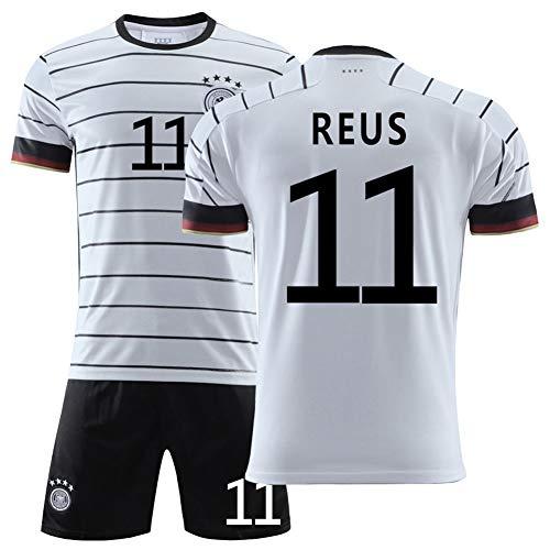Reus 11# Deutschland Heimfußball Trikot-Jugendfußballtraining Kurzarm-T-Shirt 2-teiliges Trikot mit weißen Streifen Geschenk 16-XXL- 28 (155~165CM)