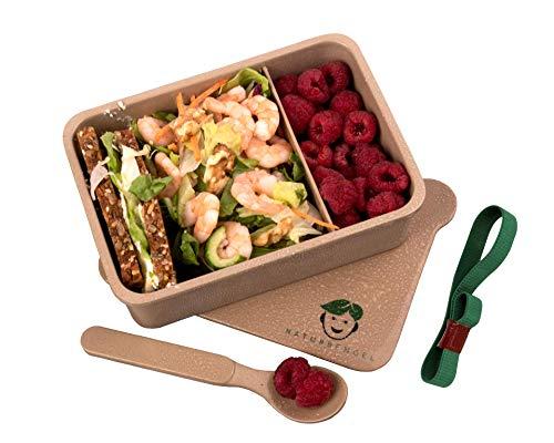 Naturbengel® nachhaltige Lunchbox I Aus umweltfreundlichen Reishülsen I Auslaufsicher & dicht I Nachhaltige Brotdose mit Flexibler Trennwand