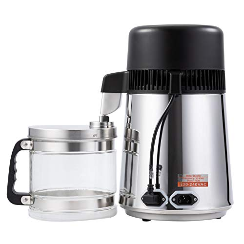 CO-Z Destilador de Agua Purificador de Agua Doméstico 4L Destilador de Agua de Acero Inoxidable 750W con Jarra de Filtro Destilación de Agua con Botella de Colección (plata)