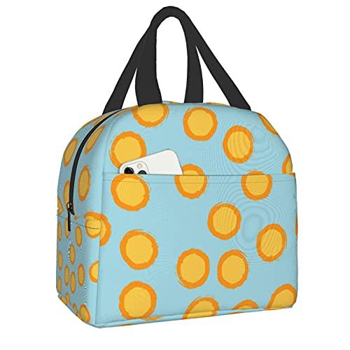 Bolsas de almuerzo aisladas, lunares amarillos y naranjas para mujeres, escuela, niños, estudiantes, almuerzo, sándwich, comida fría, bolsa de nevera