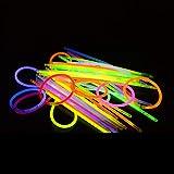 Kwock 100pcs Palo de Luz Partido Pulseras Luminosas, 8' Prima Esposas, Collares, Crear Gafas, Pulseras Triples, Diadema, Pendientes, Flores, Bola de Resplandor con los Pulsera Conectadores 100pcs