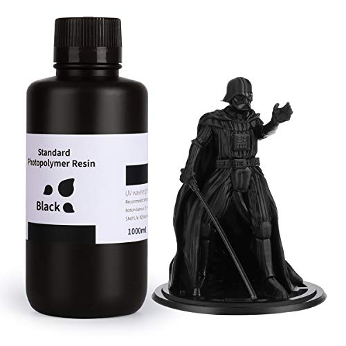 ELEGOO 3D Drucker Resin, LCD UV 405nm Rapid Resin für LCD 3D Drucker Photopolymer Kunstharz Flüssige 3D-Druckmaterialien Super Schwarz 1000g