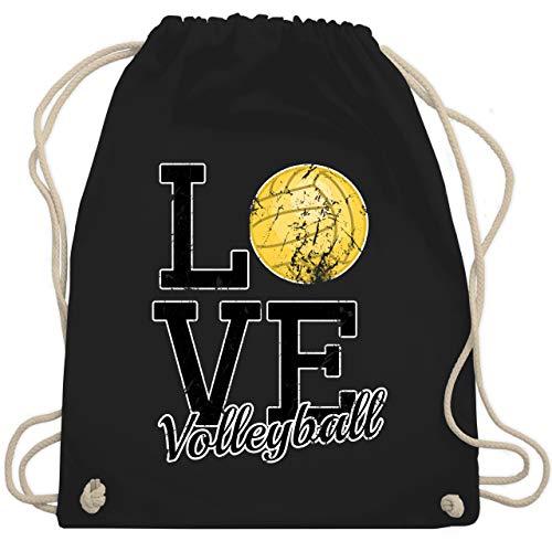 Shirtracer Volleyball - Love Volleyball Gold - Unisize - Schwarz - volleyball gold - WM110 - Turnbeutel und Stoffbeutel aus Baumwolle
