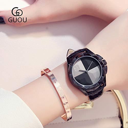 DAZHE Militäruhren Quarz Armbanduhren, Gun-Shell Gurtfrau Uhren Mode Wilde Gradient Kuchenplatte Stahl Quarzuhr Uhr für Frauen (Color : 1)