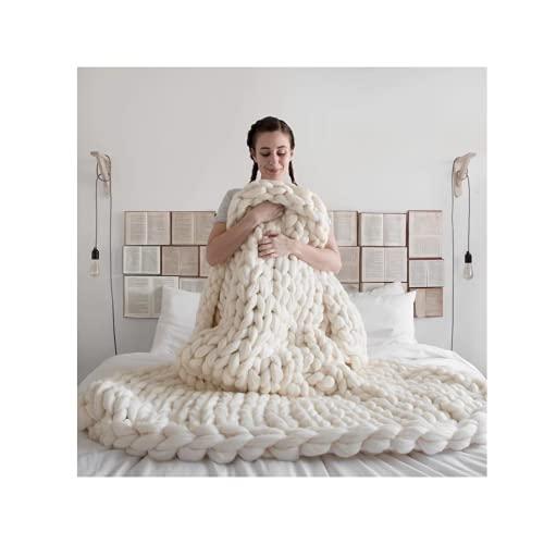 Coperta spessa e comoda, in puro cotone, coperta in lana grossa intrecciata a mano, per camera da...