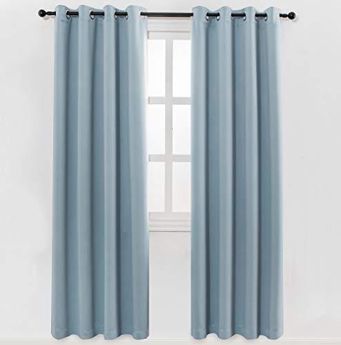 MANGATA CASA Bedroom Blackout Curtains Grommet 2 Panels,Thermal Window Curtain Panel for Living Room Darkening Drapes(Light-Blue 52x84Inch)