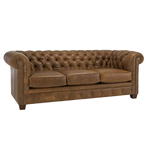 SOFAWEB.COM Hancock Tufted Top Grain Italian Leather Chesterfield Sofa Distressed Saddle Brown