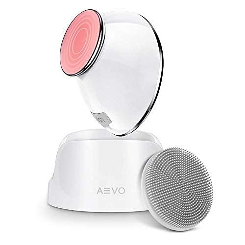 AEVO Cepillo Limpieza Facial, Limpieza 6 Veces más Profunda,Masaje con Calor,Vibraciones Sónicas, Cabezal Silicona Desmontable, Exfoliación, Recargable, 5 Modos, Unisex, Blanco