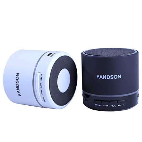 FANDSON Round Portable Wireless Bluetooth Speaker with Built-in-Mic,Handsfree Call,AUX Line,TF Card,HD Sound and Bass for iPhone Ipad Android Smartphone and More