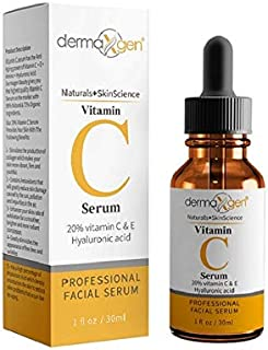 dermaXgen Pure Vitamin C 20%+ E + Hyaluronic Acid Face Serum BEST Age Defying Skin Brightening Facial Serum for Face Under...