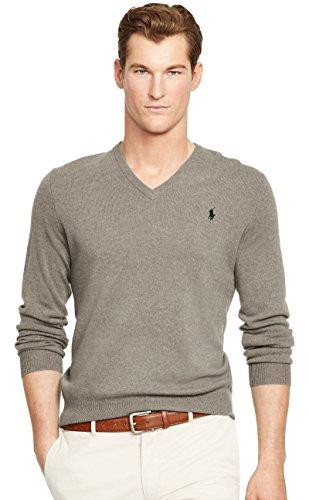 Ralph Lauren Pull en coton avec col en V pour homme - Gris - L
