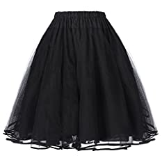 Features: Well Elastic Waistline; A Line; Knee Length; Swing Hem; 2 Style(56: 3Layers, 229: 4 Layers) Multicolored: Black / White / Red / Pink / Yellow / Blue / Purple / Green / Navy blue /Maroon/Black+White/ Black+Ivory / Black+Red as show The petti...