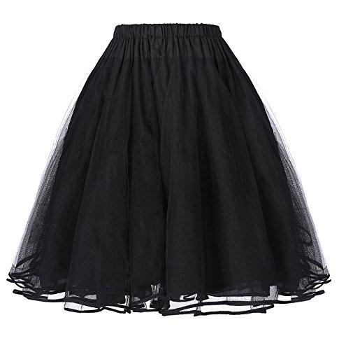 Belle Poque Elegant Damen 50s Retro Unterrock Reifrock Petticoat tüllrock schwarz M BP229-1