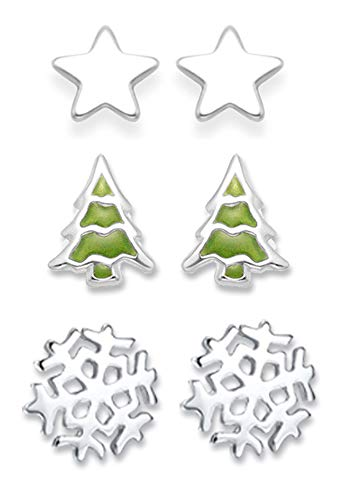 Heather Needham Sterling Silver Christmas Earrings set: Christmas tree, Snowflake Earrings and Star earrings. SMALL STUDS see size below Gift boxed. NEW LOWER PRICE 5103/5150/5571