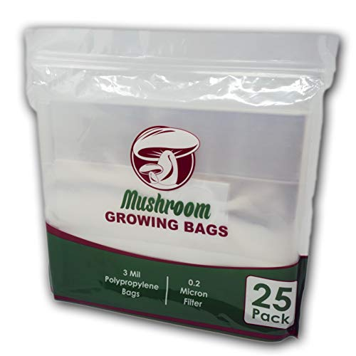 """Reinforced Mushroom Grow Bags, 25 Count, Oyster Spawn and Grain Root Substrate Growing Kit with 0.2 Micron Filter, Large 8"""" x 5"""" x 20"""", Thickest Available Heavy Duty 3 Mil Polypropylene Plastic"""