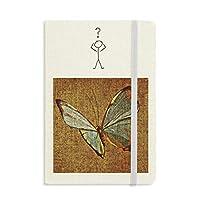 デザインの刺繍の亜麻の蝶の伝統 質問ノートブッククラシックジャーナル日記A 5