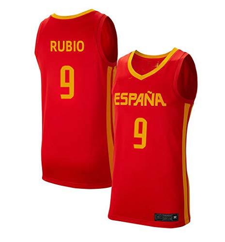 K&A Camiseta Ricky Rubio Selección Española de Baloncesto Rojo 2019 para Hombre & Niño (Rojo, Hombre L)
