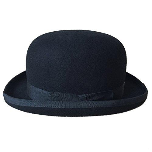 GEMVIE Sombrero de jinete para hombre y mujer, de fieltro Negro X-Large