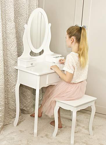 Runesol Mädchen Schminktisch Weiß mit Spiegel & Hocker für Kinder | Kleiner Kindertisch, Ideal für Mädchen 8-13 Jahre | Spiegeltisch, Frisierkommode Holz mit 3 Fächern und Kristallknöpfen