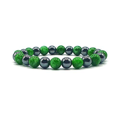 KARDINAL WEIST Hämatit Jade Armband, Edelstein Perlen, Kraftstein Schmuck für Damen und Herren, Chakra - Glück - Gesundheit - Yin Yang (Model 1)